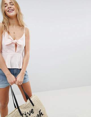 Asos DESIGN Tie Front Cami in Dobby Check