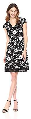 Sandra Darren Women's 1 PC Cap Sleeve Printed Large Floral Knit Fit and Flare Dress