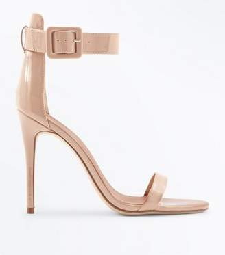 New Look Nude Suedette Buckle Strap Barely There Heels
