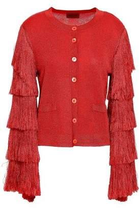 Missoni Fringed Metallic Stretch-knit Cardigan
