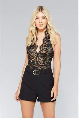 Quiz Black And Stone Lace Bodysuit