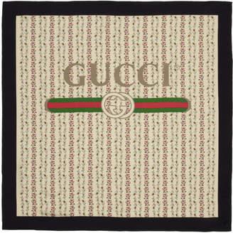 Gucci Ivory Silk Flowers Scarf