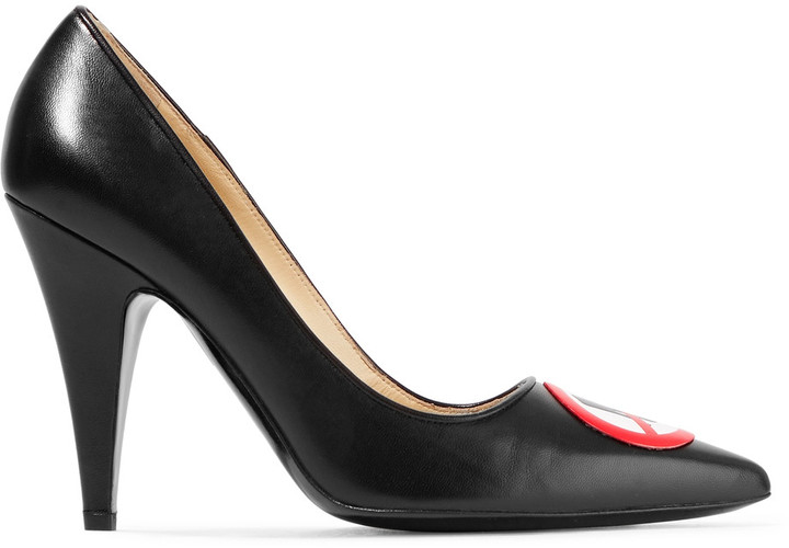 Moschino Moschino Appliqu&eacuted leather pumps