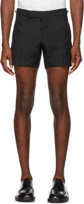Thom Browne Black Low-Rise Skinny Mini Shorts