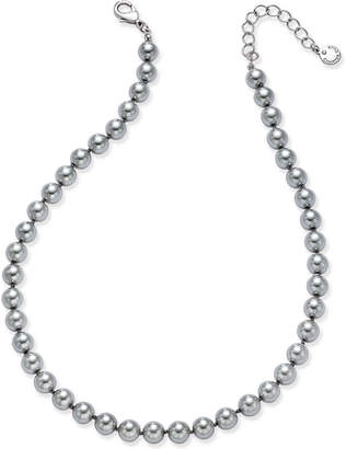 Charter Club Silver-Tone Cubic Zirconia & Gray Imitation Pearl Necklace