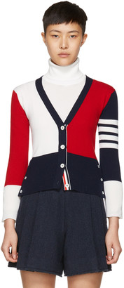 Thom Browne Tricolor Classic V-Neck Funmix Cardigan $1,790 thestylecure.com