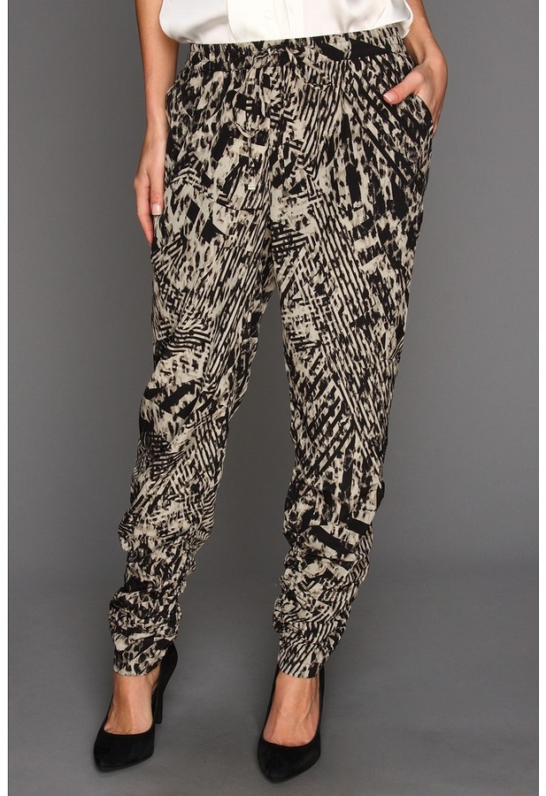 Kenneth Cole New York - Callie Animal-Printed Ruched Pant (Sandstone Combo) - Apparel