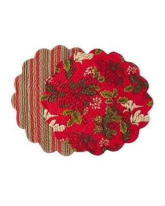 C & F Enterprises Poinsettia Pine Round Placemats, Set of 4