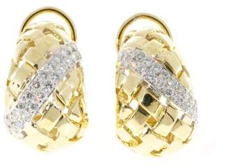 18K Yellow & White Gold with 1.00ct Diamonds Basket Weave Earrings