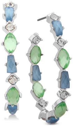 lonna & lilly Silver-Tone Crystal & Stone Open Hoop Earrings