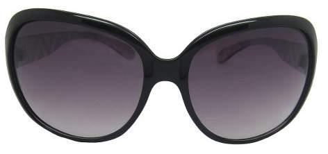 Women's Metal Temple Filigree Design Sunglasses - Black/Silver