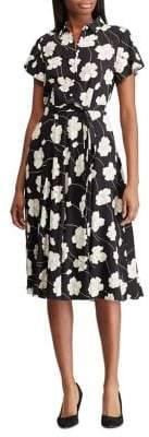 Chaps Floral-Print Fit--Flare Button-Front Dress