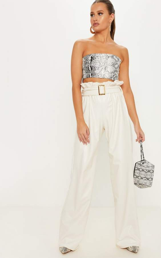 Cream Faux Leather Belted Waist Wide Leg Trouser