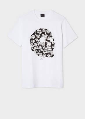 Paul Smith Men's White 'Monkey Skull' Print Organic-Cotton T-Shirt