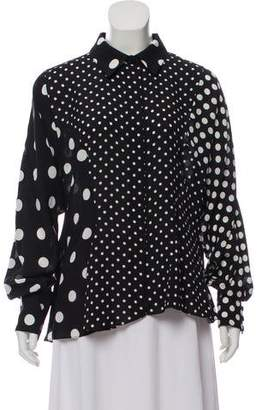 Andrew Gn Polka Dot Long Sleeve Blouse