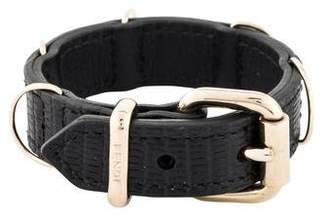 Fendi Embossed Leather Buckle Bracelet