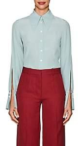 Victoria Beckham Women's Silk Crepe Cutout-Sleeve Blouse-Jade