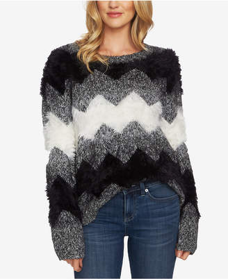 CeCe Zigzag-Striped Mixed-Media Sweater