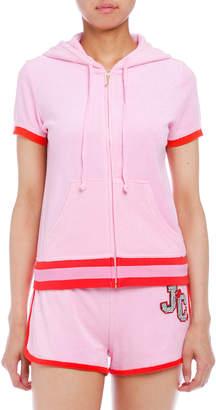 Juicy Couture (ジューシー クチュール) - Juicy Couture マイクロテリー ビジュー 配色ライン 半袖パーカ ビキニピンク xs