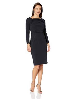 Maggy London Women's Petite Solid Novelty Crepe Sheath with Sleeve