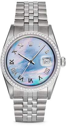 Pre-Owned Rolex Stainless Steel and 18K White Gold Datejust Watch with Dark Mother-of-Pearl Dial and Diamond Bezel, 36mm