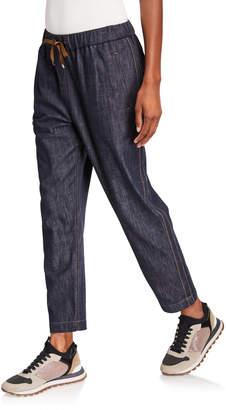 Brunello Cucinelli Monili Tuxedo-Striped Chambray Pants