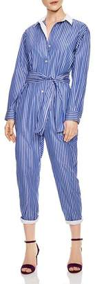 Sandro Evora Striped Tie-Front Jumpsuit