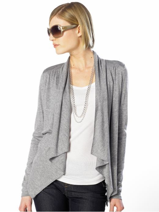 Long-sleeve wrap cardigan