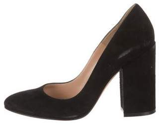 Gianvito Rossi Suede Round-Toe Pumps