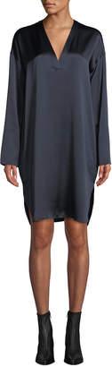 Vince Long-Sleeve V-Neck Silk Tunic
