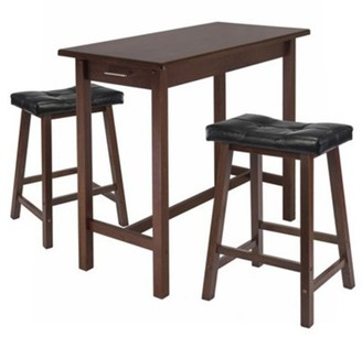 Winsome Sally 3-Pc Breakfast Table Set with 2 Cushion Saddle Seat Stools