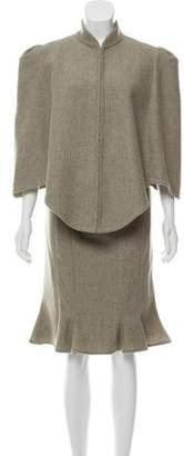 Chloé Wool Cape Skirt Suit