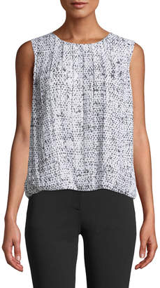 Iconic American Designer Sleeveless Speckled-Print Bubble-Front Top