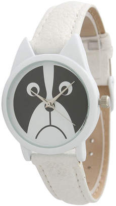 OLIVIA PRATT Olivia Pratt Womens White Bezel Puppy Dog Dial White Leather Watch 13152White White