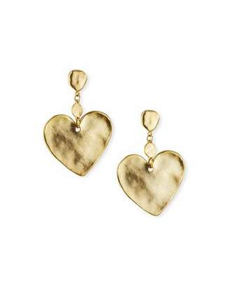 Sequin Hammered Heart-Drop Earrings