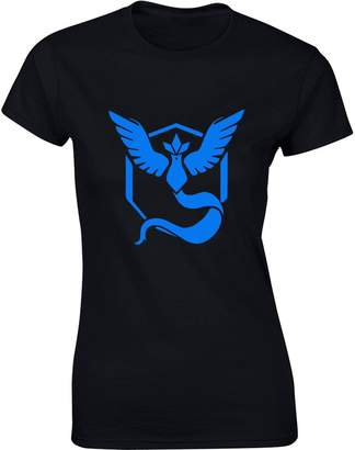 Pokemon Brand88 Team Mystic Go Badge, Ladies Printed T-Shirt