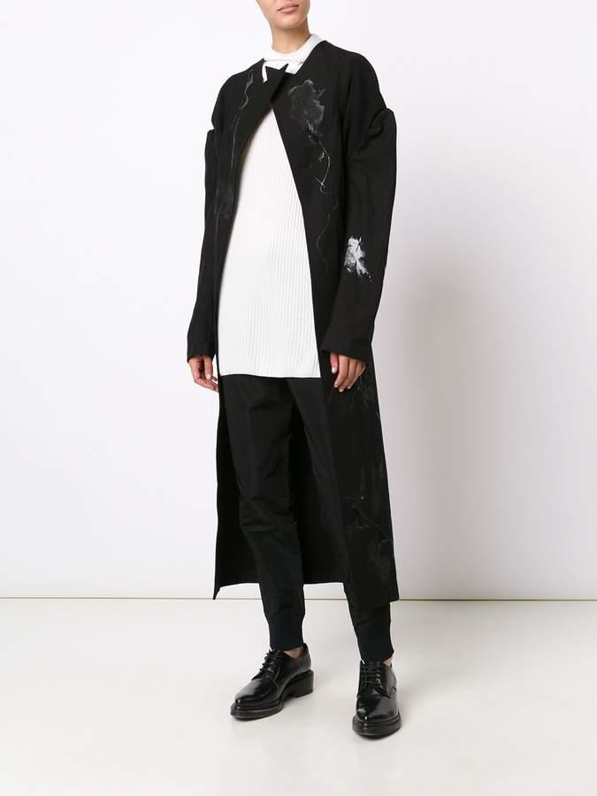 Yohji Yamamoto peaked lapel mid coat