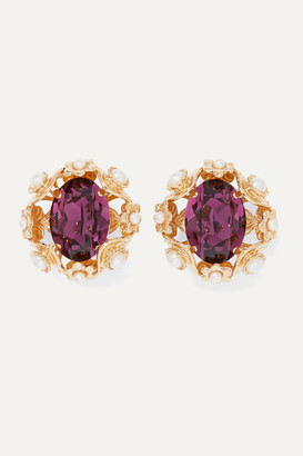 Dolce & Gabbana Gold-tone, Crystal And Faux Pearl Clip Earrings - Purple