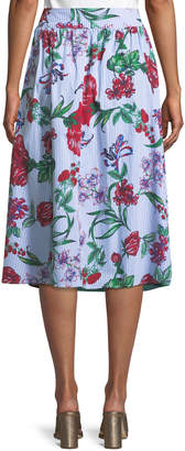 Neiman Marcus Belted Button-Front A-line Floral Skirt