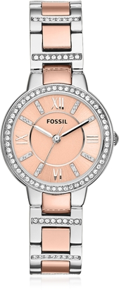 Fossil Virginia Two Tone Stainless Steel Women's Watch w/Crystals $129 thestylecure.com
