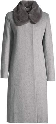 Cinzia Rocca Mink Fur Collar Wool Coat