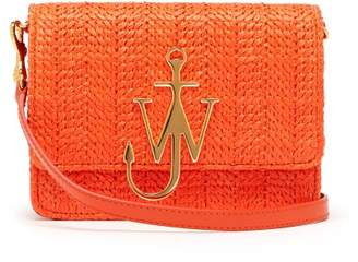 J.W.Anderson Logo Plaque Raffia And Leather Cross Body Bag - Womens - Orange