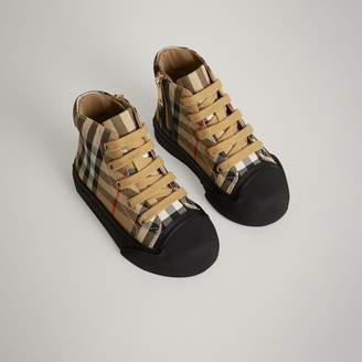 Burberry Vintage Check and Leather High-top Sneakers , Size: 26