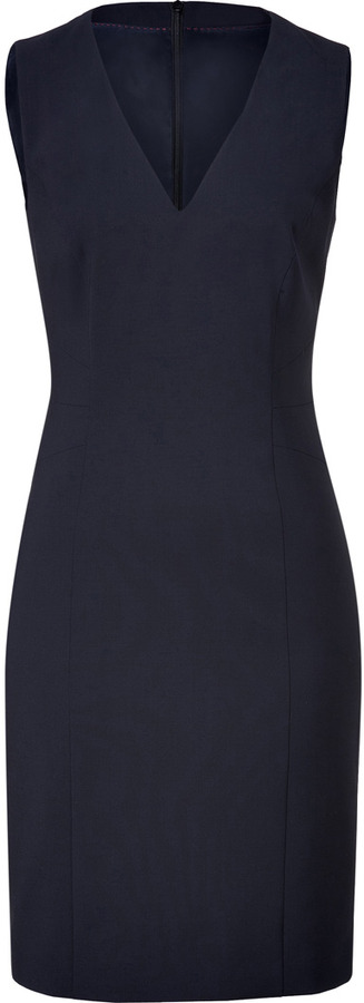 HUGO Open Blue Stretch Wool Klanis Dress