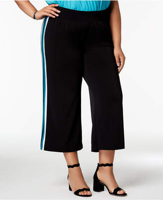 INC International Concepts I.N.C. Plus Size Varsity-Stripe Cropped Wide-Leg Pants, Created for Macy's