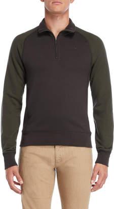 Armani Jeans Grey & Green Quarter-Zip Sweater