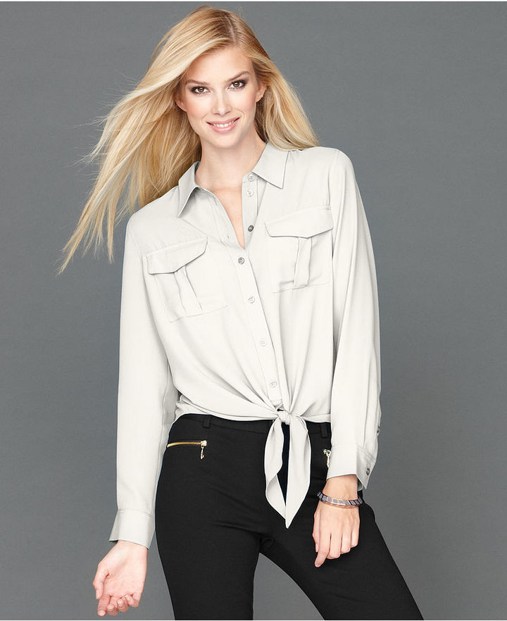 INC International Concepts Petite Shirt, Long-Sleeve Cargo-Pocket Tie-Front