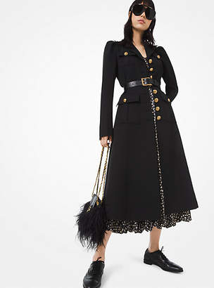 Michael Kors Wool-Gabardine Military Coat