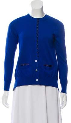 Sacai Luck Satin-Accented Knit Cardigan Blue Luck Satin-Accented Knit Cardigan