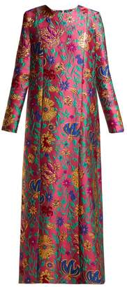 Dragon Optical La Doublej - Trapezio Flower Brocade Maxi Dress - Womens - Pink Print